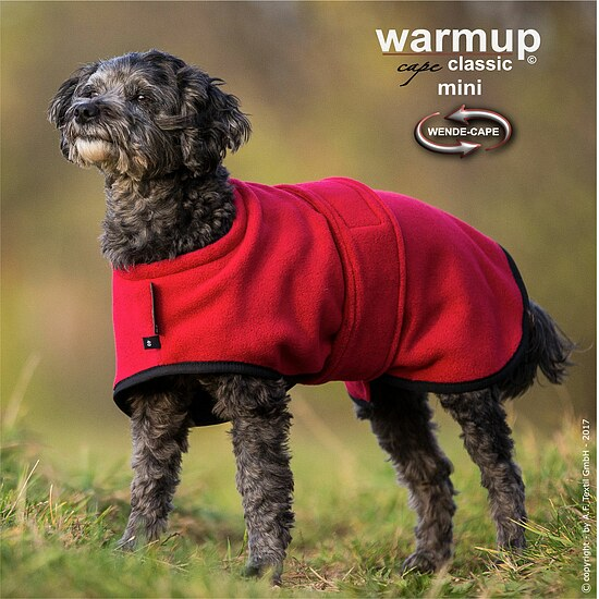 Bild 1 - Hundemantel Warmup Fleece/Frottee mini bordeaux