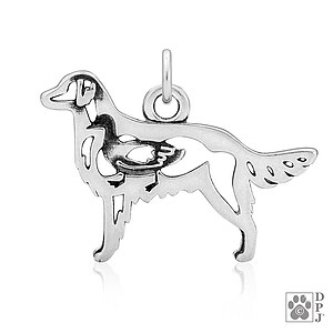 Flat-Coated Retriever Anhänger mit Ente Sterling Silber